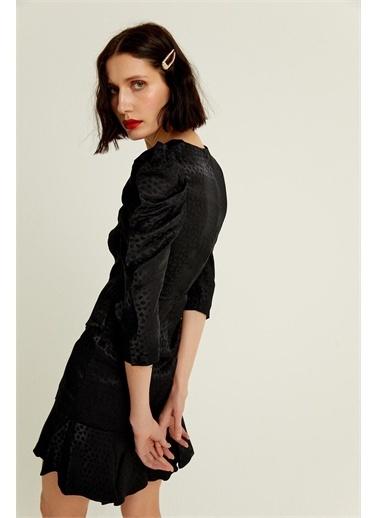 Rue Siyah Drapeli Volanlı Saten Mini Elbise Siyah